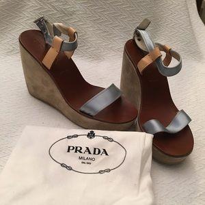 "Prada Wedge Platform Sandals 9 4.5"" Blue Metallic"